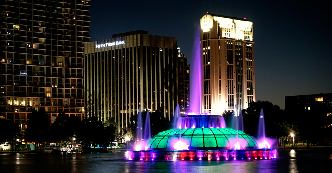 The Lake Eola Fountain in Orlando, Florida lit purple to raise Alzheimer's awareness.